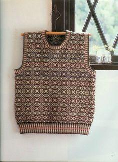 Fair Isle Knitting Patterns, Knit Patterns, Knitting Ideas, Vintage Knitting, Hand Knitting, Norwegian Knitting Designs, Knit Vest Pattern, Fair Isles, Sweater Design