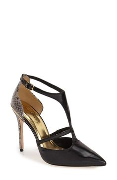 Free shipping and returns on Ted Baker London 'Kotaka' T-Strap Pump (Women) at Nordstrom.com. Gilt hardware highlights the snake-embossed heel of a stunning pointy-toe pump furnished with a slim T-strap.