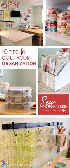 Sewing Fabric Storage 10 Tips for Quilt Room Organization - 10 Tips to help you organize your Sewing and Quilting room. Organize and store your notions, rulers, patterns, and fabric. Sewing Room Design, Sewing Room Storage, Sewing Spaces, Sewing Room Organization, My Sewing Room, Craft Room Storage, Fabric Storage, Sewing Studio, Organization Hacks