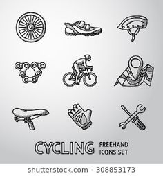Set of Cycling freehand icons with - wheel, shoe, helmet, chain, cyclist, map with gps, saddle, glove, repair tools. Vector