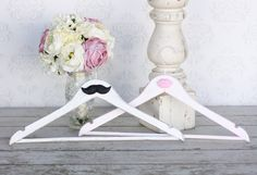 Mustache Bride and Groom Wedding Hangers Shabby Chic Decor (item P20002)