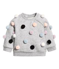 Sweatshirt med garnbollar | Gråmelerad | Barn | H&M SE