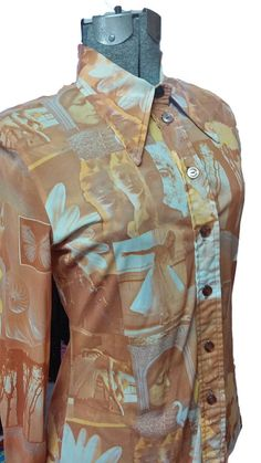 Vintage Blouse Psychedelic Peach Orange Graphic Photo Poly