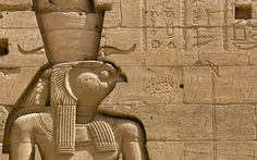 Carving of Egyptian God Horus, Temple of Philae, Lake Nasser, Egypt