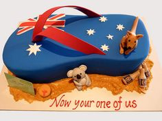 Welcome cake for a foreigner who settles in one place in Australia Australian Party, Australian Memes, Australia Cake, Australia Day Celebrations, Waitangi Day, Aussie Food, Travel Cake, Specialty Cakes, Drip Cakes
