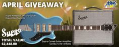 For April, AMS is giving away a Supro Guitar Rig featuring a Supro Hampton Electric Guitar (Ocean Blue Metallic) & a Supro Comet Guitar Amplifier - A $2,448 Value! http://woobox.com/9mvpuj/iqmhjj #sweeps