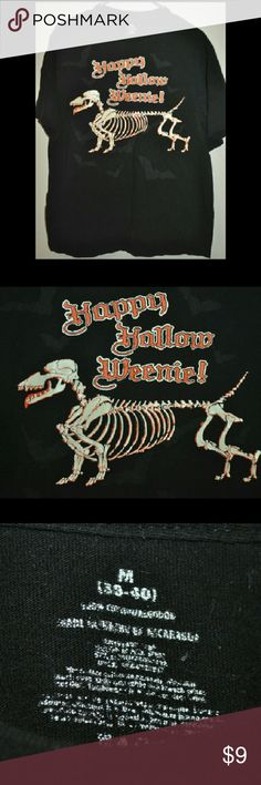 🎃 Halloween Weenie Dog Skeleton T-shirt 👻 the 'Happy Hallo Weenie' print is just a bit worn....other than that, no flaws // tags: spooky creep creepy spook skeletons skeletal humor funny fun holidays holiday boo weiner dogs dachshund unisex cute pets pet animals animal orange black unique sayings saying quotes quote tees tee tops top shirts shirt tshirts tshirt bone bones cool rad Shirts Tees - Short Sleeve