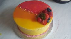 Mango and passion fruit mousse cake i made for my brothers girlfriend Passion Fruit Mousse, Passion Fruit Cake, Yummy Treats, Delicious Desserts, Dessert Recipes, Cake Recipes, Yummy Food, Easy Cakes To Make, How To Make Cake
