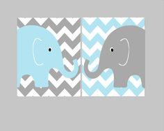 Nursery Wall Decor- Kids Art Prints- Nursery Prints- Set of 2 Prints for Nursery or Kids Room- Chevron Elephants- Gray and Blue Nursery on Etsy, $29.00