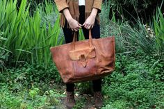 Perfectly Distressed Vintage 70s Large Leather Tote Bag