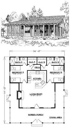 Granny pods floor plans The Bunkhouse, Plan 1033 sq ft, 36 W x 44 D x H, construction, gable roof. Tyni House, Tiny House Cabin, Cottage House Plans, Cottage Homes, Best House Plans, Dream House Plans, Small House Plans, Small Log Cabin Plans, Small Cottage Plans