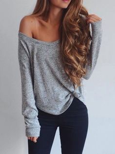 Long Sleeve Off Shoulder Loose T-shirt - Cute outfits Look Fashion, Fashion Outfits, Womens Fashion, Fashion Tips, Fashion Trends, Fashion Websites, Fashion 2018, Cheap Fashion, Trending Fashion