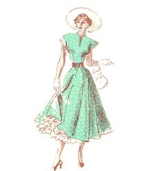 Marian Martin 9059 Dress with Ruffled Petticoat & Laced Belt 40's Vintage Sewing Pattern Size 12 Bust 30 UNCUT
