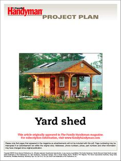 Craftsman shed and 5 other sweet plans dream home patio for Family handyman house plans