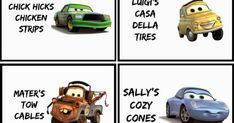 Disney Cars Food Labels
