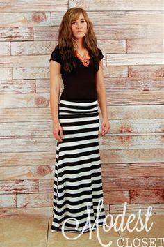 Ann Striped Maxi Skirt - Modest Closet - stipes stripes stripes!