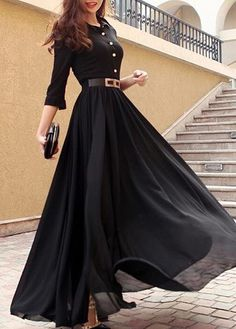 Best fabrics to choose for Long Dresses long dress button decorated black turndown collar maxi dress-size l tefkded Pretty Dresses, Beautiful Dresses, Dress Outfits, Fashion Dresses, Maxi Dresses, Long Dresses, Chiffon Dresses, Sleeve Dresses, Maxi Dress Styles