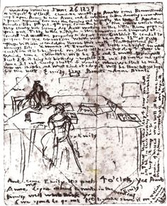 Diary sketch by English author of Wuthering Heights Emily Brontë, showing herself and sister Anne working in the dining room,1837 #womensart