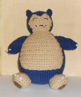 Handmade plush toy based off the Snorlax pokemon from the Pokemon game series.