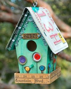 Birdhouse made from odds & ends...