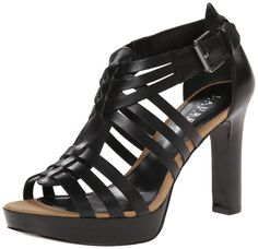 Lauren Ralph Lauren Women's Safia Platform Sandal, Black Burnished Vachetta, 8 B US. Solid dress sandal featuring huarache-inspired strappy upper with stacked natural platform and heel.
