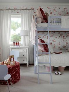 Sarah Richardson Design - Lovely pink red blue girl's bedroom design with pale blue bunk . Sarah Richardson, Girls Bedroom, Bedroom Decor, Blue Bedroom, Budget Bedroom, Bedroom Ideas, Red Nursery, Kids Bunk Beds, Deco Design