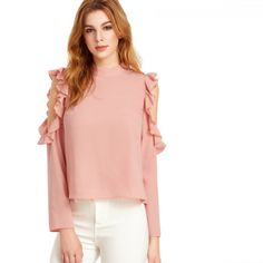 2018 Women Full Sleeve Shirts Blouses Cold Shoulder Tops Pink Open Shoulder V Cut Out Back Ruffle Top Blouse // Price: $25.02 & FREE Shipping // https://nicoleira.com    #freeshipping