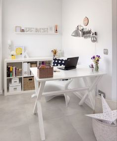 Love the desk and the Expedit bookcase at the back!