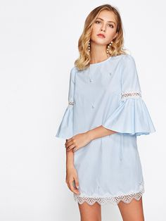 Online shopping for Lace Applique Pearl Beading Bell Sleeve Dress from a great selection of women's fashion clothing & more at MakeMeChic. Comfy Dresses, Casual Dresses, Casual Outfits, Diy Dress, Dress Skirt, Bell Sleeve Dress, Bell Sleeves, Robe Diy, Short Dresses