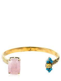 Iosselliani Quartz Bangle Bracelet In Gold/pink Bangle Bracelets, Bangles, Iosselliani, Jewelry Accessories, Quartz, Brass, Turquoise, Pink, Gold