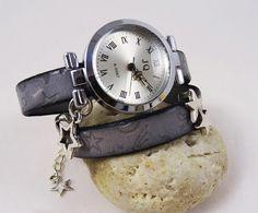 Wrap leather bracelet watch for woman stars by Cristalizade