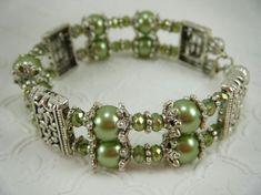 Green Memory Wire Bracelet / Beaded Bracelet / by JewelryBySky, $29.00