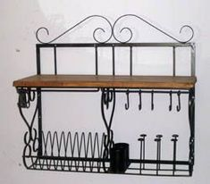 Metal Kitchen Shelves, Wall Shelves, Mini Kitchen, Kitchen Pantry, She Looks So Perfect, Iron Furniture, Little Houses, Country Kitchen, Living Room Designs