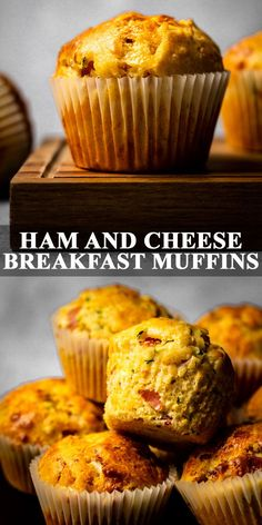 Ham and Cheese Muffins - Deliciously moist and fluffy breakfast muffins that are perfectly spiced with a hint of paprika, and stuffed full of ham, cheese, and grated courgettes! Bakery Muffins, Pancake Muffins, Pancakes And Waffles, Breakfast Crepes, Savory Breakfast, Breakfast For Kids, Spinach Muffins, Cheese Muffins, Ham And Cheese Muffin Recipe