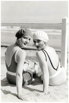 Diane Ellis and Carole Lombard at the beach, 1929.