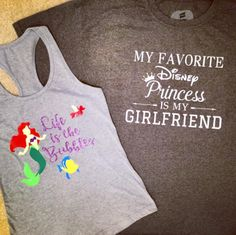 Some of my new designs of Disney shirts.    The women's tank tops are light and breathable, perfect for your next Disney vacation!  The men's Disney shirts use eco smart fabric with a crew neck.   Disney shirts for women and men by Lily Beth Boutique on Etsy https://www.etsy.com/listing/533654772/disney-shirt-for-women-little-mermaid