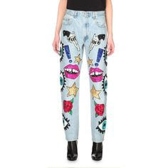 DISCOUNT UNIVERSE Sequin-embellished tapered high-rise jeans (£795) ❤ liked on Polyvore featuring jeans, blue, high rise jeans, button-fly jeans, highwaist jeans, high waisted button jeans and high waisted jeans