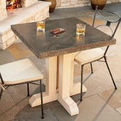 How to Build an Outdoor Table - Build this attractive, durable stone look-alike table in a day, using inexpensive concrete products available at many home centers. You simply mold and pour the top, then assemble the wooden legs. When sealed, it's stain-resistant and can be used indoors or outside.    By the DIY experts of The Family Handyman Magazine:  June 2011