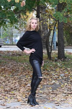 JMSTYLE Black Faux Leather Leggings Cotton Leggings by JMSTYLE