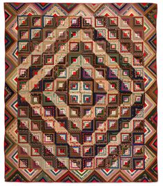 Flossie Sheriff McClure (American, born 1892) Log Cabin--Barn Raising Variation, 1910-1915 Cottons, wools and silks Lexington, Kentucky 75-1/2 x 74 in. Collection of Eleanor Bingham Miller