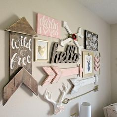 """Kara Mahon on Instagram: """"I've had a lot of people ask to see the whole wall collage! I think it's safe to say I'll never do another 😜 #atwoodavenue #etsy #nursery…"""""""