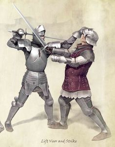 Two illustrations of anti-armour techniques for the Armour Expansion of Audatia, the medieval swordfighting card game. Medieval Weapons, Medieval Knight, Medieval Fantasy, Armadura Medieval, Historical European Martial Arts, Templer, Landsknecht, Late Middle Ages, Knight Art