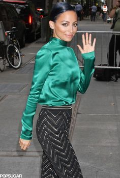 Nicole Richie donned a colorful ensemble for her appearance on The View in NYC on Wednesday.