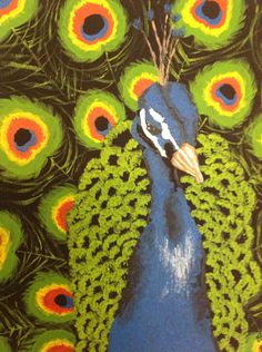 """Peacock 8x10"""" acrylic painting on stretched black canvas, modern art, no frame needed - pinned by pin4etsy.com"""