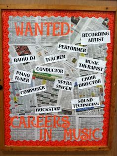 Another great idea for a Music Bulletin Board! Could adapt: Wanted... Writers, readers, artists, scientists etc