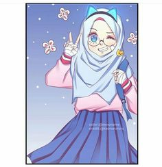 Cute Cartoon Girl, Anime Girl Cute, Kawaii Anime Girl, Cute Anime Chibi, Anime Neko, Fisher, Islamic Cartoon, Hijab Cartoon, Cute Love Pictures