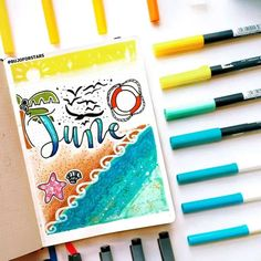 50+ incredible June monthly spreads for your Bullet Journal? | My Inner Creative Bullet Journal Cover Page, Bullet Journal Key, Bullet Journal Ideas Pages, Bullet Journal Spread, Bullet Journal Layout, Journal Covers, Bullet Journal Inspiration, Journal Pages, Bullet Journals