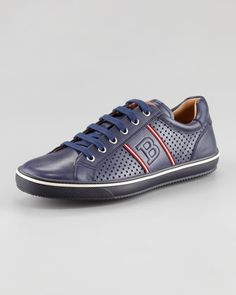 Perforated Leather Logo Sneaker, Navy by Bally at Neiman Marcus.