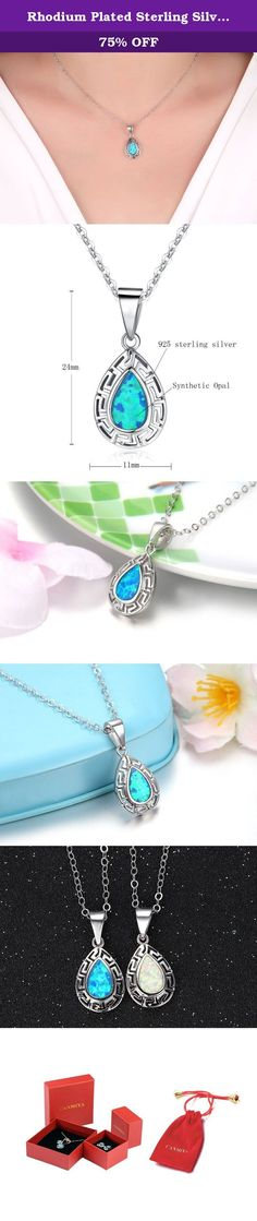 """Rhodium Plated Sterling Silver Synthetic Blue Opal Tear Drop """"Hobbit"""" Pendant Necklace 18'' (Blue). Canmiya committed herself to providing perfect jewelry and top notch service. Just feel free to contact us when you need help. We are always here ready to help you! Sterling Silver History Experts believe that silver alloy, used today as sterling silver, originated in continental Europe in the 12th century. Pure silver was found to be a soft and easily damageable material. When combined…"""