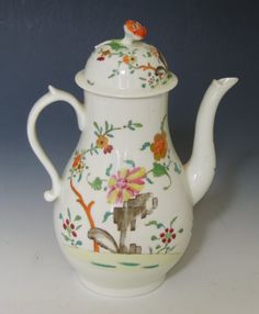 Derby porcelain coffee pot with an unusual flower finial.